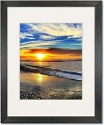 Coastal Wood Charcoal Picture Frames With Clear Glass And Single White Mat