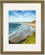 Coastal Wood Light Walnut Picture Frames With Clear Glass And Single White Mat