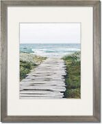 Coastal Wood Light Grey Picture Frames With Clear Glass And Single White Mat