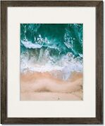 Coastal Wood Walnut Picture Frames With Clear Glass And Single White Mat