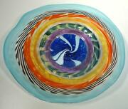 20 Hand Blown Glass Wall Or Table Platter, Dirwood Glass, Red Blue Gold Purple