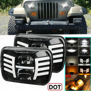 Pair 7x6 Amber Turn Signal White Drl Led Headlights For Jeep Wrangler Yj 86-1996