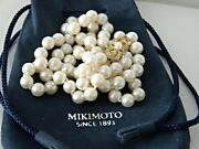 Appraisal 3930 Mikimoto 18k Gold 80 Pearl 7mm-6.5mm Necklace + Pouch 25.5 Inch