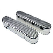 Gm Ls Chevy Sb Finned Cast Aluminum Valve Covers W/ Coil Mounts And Cover Polished
