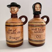 Vintage Pennsbury Pottery Oil And Vinegar Jugs Man Woman Stoppers Display Only