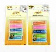 Lot Of 2 Post-it Arrow Message 1/2 Sign Here Page Flags 100/pack Asst Colors