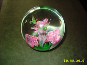 Beautiful Birds And Flowers Glass Paperweight Unsigned Unknown Artist