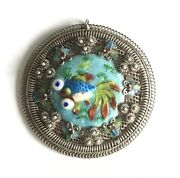 Antique Chinese Silver Necklace Jewelry Brooch Pendant Enamel