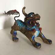 Chinese Export Silver Inlay Lion