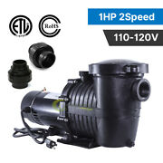 2-speed 1hp High-flo In/above Ground Swimming Pool Pump Energy Saving 115v