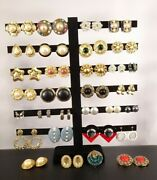 Vintage - Now Costume Jewelry Clip-on Earrings And Brooch Junk Drawer Estate Sale