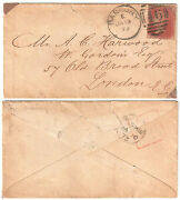 1873 Great Britain Cover London One Penny Lake Red Plate 149 Duplex Cds Banbury