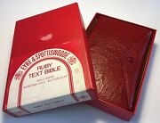 Vintage Holy Bible, Kjv, Red Montana Calf Leather, Button Flap, Ruby Text Bible