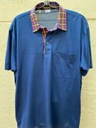 850 Brioni Sport 100 Cotton Blue With Red Yellow Plaid Collar Polo Shirt Sz L