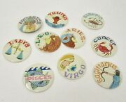 Vintage Lot Of Astrological Buttons/pins/pin Backs Lot Of 10 60's Zodiac Mod Pop