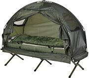 Portable Camping Cot Tent With Air Mattress Sleeping Bag Green Guest Bed Pillow