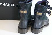 Auth Nib 40 Us 9.5 Ankle Boots Forest Green Plaid Gold 2400 ++ Stunning