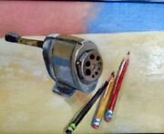 Original Oil Painting Of Pencils And Sharpener By Michael F. Graham