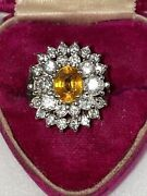 Vintage To Antique Natural Yellow Sapphire And Diamond 6.25 Carats Estate