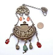 Chinese Solid Silver Lion Dog Chain Turquoise Agate Bead Charms Perfume Pouch