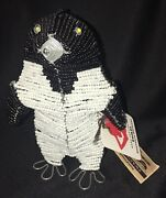 Penguin Glass Beaded Wire Sculpture Heart For Africa