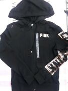 Vs Pink Full Zip Hoodie New Size Xsmall Black With Gold Bling Logo