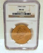 1904 S Ngc Cert Us Ms62 20.00 Us Liberty Gold Coin Number 3373746-047