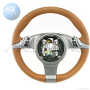 Porsche 997 Cayman Boxster Media Pdk Heated Steering Wheel Natural Brown Leather