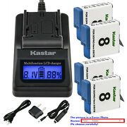 Kastar Battery Lcd Fast Charger Replace Genuine Gopro Ahdbt-801 Hero 8 Hd Black