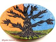 Games Of Colors Large Decorative Fused Glass Platter A Tree Of Life
