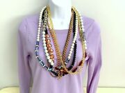 Vtg Heavy Large Multi Strand Crystal Glass Rhinestone Beads Chain Necklace 32and039and039