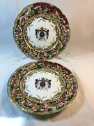 Rare Early 19th C. Pair Of 18ll Napoleon Ii Capodimonte Armorial Plates 10 Each