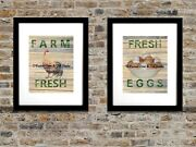 Set Of 2 Art Prints Rustic Country Rooster Egg Kitchen Decor Matted Picture A264