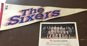 1983 Philadelphia 76ers World Champions Color Photo With Pennant