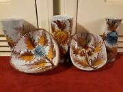 Vintage Italian Art Pottery Hand Painted Bowls And Cups W/ Leaf And Flower Design