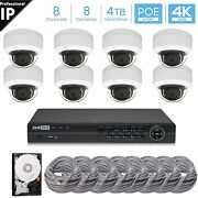 Hikvision Generic 8ch 4k 8mp Poe Nvr, 8 X 8mp Dome Camera Security System 4tb