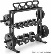 Dumbbell Rack Barbell Holder Organizer Weight Olympic Stand Fitness 3 Tier Gym