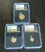 2017 Gold Krugerrand Fractional 3 Coin Gem Proof Set. First Day Of Issue Signed
