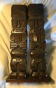 Vintage Set Of 2 Mid Century Hand Carved Heavy Wood Hawaii Tiki Statues 27andrdquoh 8andrdquow