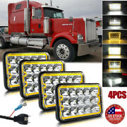 For Freightliner Classic Fld120 Fld112 4x6and039and039 Led Headlight Highandlow Amber Drl 4x