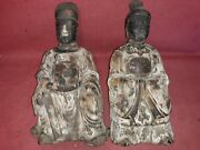 Pair Antique Chinese Ancestor Wood Carving Sculpture