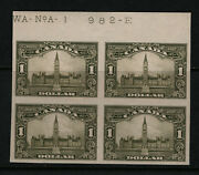 Canada 159a Extra Fine Never Hinged Plate 1 Imperf Block