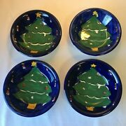 Set Of 4 Gibson Designs Festive Blue Christmas Tree Pasta Soup Bowls 8 1/2 In.