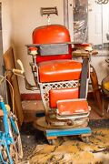 Emil J Paidar Antique Barber Chair Vintage W/ Child Seat And Leather Strop