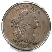 1804 C-6 Pcgs Vf 35 Manley 11.0 Spiked Chin Draped Bust Half Cent Coin 1/2c