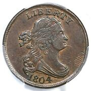 1804 C-6 Pcgs Au 55 Manley 12.0 Spiked Chin Draped Bust Half Cent Coin 1/2c
