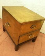 Sarreid Ltd 1970and039s Hollywood Regency Brass 2 Drawer Chest Coffee Table Trunk