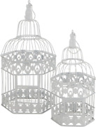 Whw Whole House Worlds Cape Cod Chic White Bird Cages, Set Of 2, White Metal, 15