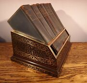Superb Top Quality Asprey Boulle Book Trough C.1870 And Complete Set Of Desk Books