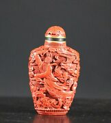 A Marked 19th/20th Century Vintage Chinese Cinnabar Snuff Bottle 1194a